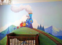 """Little Engine That Could"", Pacific Heights, ft : murals : children's murals, landscape murals Office Mural, Little Engine That Could, Pacific Heights, San Jose, Bay Area, Murals, Kids Room, San Francisco, Engineering"