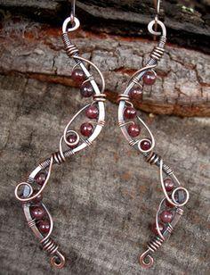 fall earrings bohemian earrings wire wrapped by Kissedbyclover