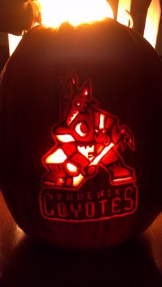 Need last minute #Halloween #pumpkin carving ideas? Check out this cool old school #Coyotes logo submitted by our great fans!