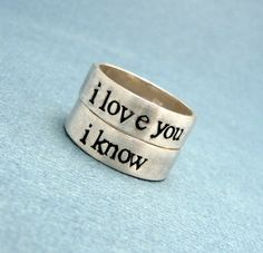 Star Wars - I Love You/I Know - 2 SOLID (not soldered) Silver Rings