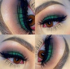 Real green smokey eye makeup