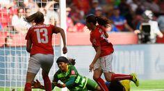 Fabienne Humm of Switzerland scores her third goal