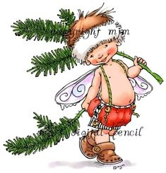 Baby Fairy Bobbin - Mo's Digital Pencil Spring Fairy, Winter Fairy, Mo Manning, Pine Branch, Baby Fairy, Christmas Fairy, Black N White Images, Penny Black, Digi Stamps