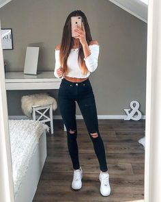 cute outfits for school . cute outfits with leggings . cute outfits for women . cute outfits for school for highschool . cute outfits for winter . cute outfits for spring Winter Fashion Outfits, Stylish Outfits, Fall Outfits, White Girl Outfits, White Vans Outfit, Fashion Clothes, Simple Summer Outfits, Casual Summer, Sporty Summer Outfits