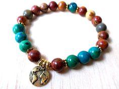 Healing Bracelet, Hippie Jewelry, Earth Bracelet, Nature Bracelet - Chrysocolla, Picasso Jasper, Ecological Awareness, Save the Planet …
