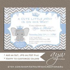 Elephant Prince Baby Shower Invitations by AsYouWishCreations4u