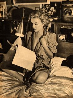 A candid shoot, at Monroe's suite in the Beverly Carlton Hotel, which rendered captivating results. Dressed casually in jeans and shirt tied at the waist, Marilyn lay on her bed reading Walt Whitman's Leaves of Grass. Though she was often mocked for her literary leanings, Marilyn's combination of sensuality and intellect was entirely genuine. By showing a different side to the actress, Florea also revealed his own versatility.