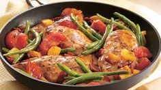 A colorful, one-dish dinner calls for quick-cooking chicken breasts, fresh vegetables and bottled salad dressing.