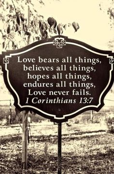 Bears. Believes. Hopes. Endures. Love overcomes fear. True love proves itself, it never fails.
