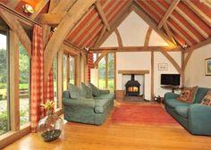Traditional oak framed barn room in house in rural South Devon