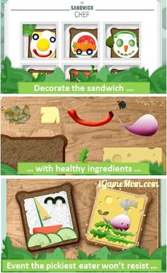 Love this fun idea - make Sandwich art with kids and learn healthy food choices #kidsapps