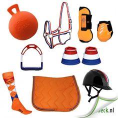 Nederland. Oranje, nederlandse vlag. zadeldek , peesbeschermes, springschoenen, cap, stijgbeugels, halster.  http://www.horsecheck.nl/