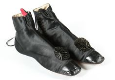Ankle Boots, 1840-1850, Made of satin and leather