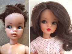 Before and after repainted and rerooted Sindy Clone