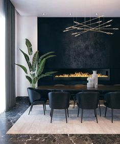 Dark dining room, black dining room, dark and moody interiors, dining room fireplace What's Decoration? Decoration may be the art … Dining Room Walls, Dining Room Design, Dining Room Fireplace, Dining Room Wallpaper, Room Chairs, Best Dining Room Colors, Luxury Dining Room, Black Dining Rooms, Lighting For Dining Room