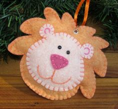 Wool Felt Lion Head Ornament Hanger in Charming by FHGoldDesigns