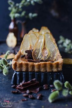 Coffee panna cotta and pear mousse tart