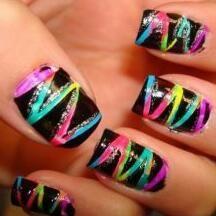 Nail art - rainbow scratch