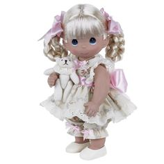 precious moments dolls | Blonde Girl with Mini Plush Bear - 12in Precious Moments Doll, 4737