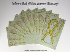 Yellow Awareness Ribbon Bone Cancer or Osteosarcoma and Bladder Cancer Guardian Angel Art Postcards (10 Pack)