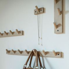 Wall hooks in untreated oak. Hanging Clothes, Clothes Hanger, Wall Hooks, Bathroom Hooks, Wall Mount, Elsa, Wood, Interior, Projects