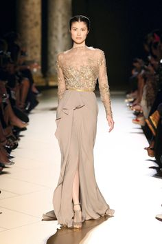 Elie Saab Spring 2013 the magic of nudes and skin tones sub tulle on the skirt profile