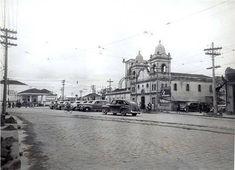 O largo dos Pinheiros em 1940 -- bem diferente do cenário de hoje em dia.