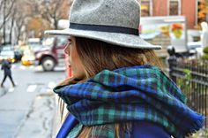 scarf , borsalino , hat,  NY, streetstyle, borsalino , capa , cuadros ,new york city , blogger