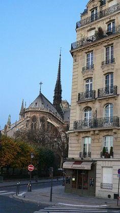 Paris apartment building near Notre Dame