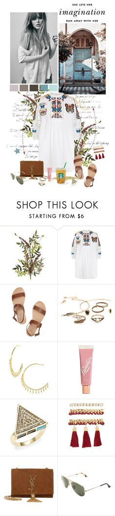 """""""Won't you stay with me"""" by auby ❤ liked on Polyvore featuring Pier 1 Imports, Valentino, Ancient Greek Sandals, Kate Spade, Gorjana, Lano, House of Harlow 1960, Charlotte Russe, Yves Saint Laurent and Ray-Ban"""