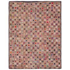 Early American Hooked Rug | basketweave pattern, geometric