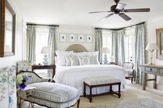 Margaret Kirkland. Your brown wood furniture looks lovely with serene neutrals and watery blues.