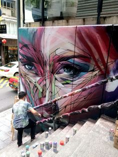Hong Kong Street Art as you walk along Hollywood Street. - Hopare