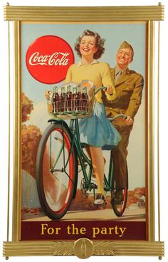 Vintage Coca-Cola 1945 on a bicycle built for two