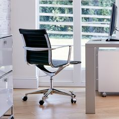 Linear Ribbed Office Chair - Chairs - Blue Sun Tree