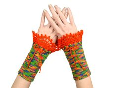 #Rainbow #Fingerless #Gloves - #Bright #Multicolor #Self #Striping #Knitted #Arm #Warmers Made Of #Recycled #Yarn With #Orange #Crochet #Lace #Decoration