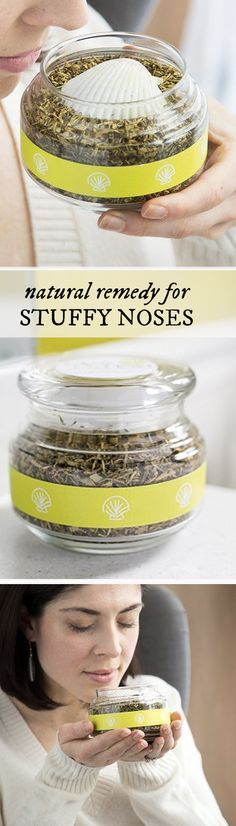 Stuffy? Sniff this. Its a natural remedy for stuffy noses. It can relieve sinus pressure and even headaches—breathe from the jar of seven herbs and essential oils, or mix into hot water for a steam treatment.