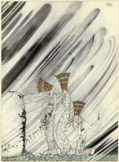 'Just as they bent down to take the rose, a big dense snowdrift came and carried them away.' An illustration by Kay Nielsen to The Three Princesses in the Blue Mountains. Art And Illustration, Old Illustrations, Botanical Illustration, Kay Nielsen, Tachisme, East Of The Sun, Fairytale Art, Art Graphique, Art Plastique