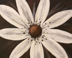 Striking yet simple, our White Daisy design is sure to be a favorite. Set against a rich, dark background, this is easy to paint but delivers impressive results. The dry-brush quality of the white petals would be lovely against any contrasting color, making it an easy complement for any decor. #socialartworking #daisy