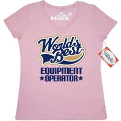 Inktastic Equipment Operator (Worlds Best) Women's V-Neck T-Shirt Construction Worker Worlds Best Job Occupation Career Work Gift For Him E T-shirts Tee Shirts Retirement Gifts Recognition Awards Stocking Stuffers Clothing Apparel Tees Adult Hws, Size: Small, Pink