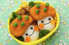 kawaii food and desserts Vegetarian nuggets with sushi rice Kawaii Bento, Cute Bento, Vegetarian Nuggets, Bento Recipes, Bento Ideas, Food Art Bento, Kawaii Dessert, Cafe Food, Food Humor