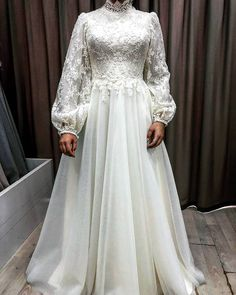 Muslim Wedding Dresses Wedding Dresses With A-line High Neck Arabic Style Bridal Gowns Vestidos De Novia Bride Dresses Long Sleeves Tesettür Gelinlik Modelleri 2020 Hijab Gown, Hijab Evening Dress, Hijab Dress Party, Evening Dresses, Muslimah Wedding Dress, Muslim Wedding Dresses, Muslim Dress, Bride Dresses, Bridal Hijab