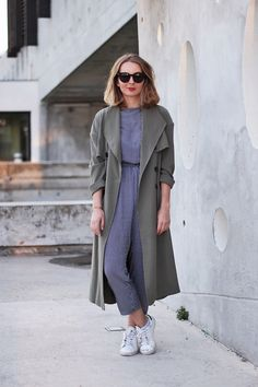 Trench Light Before Dark / Jumpsuit American Apparel / Trainers Adidas / Sunnies Jimmy Fairly - Jumpsuit + trench | @andwhatelse