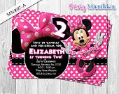 Minnie Mouse Invitations, Minnie Mouse Invite for Minnie Mouse Birthday in Hot Pink, Black polkadots and Zebra prints