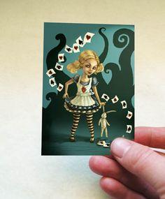 Alice in Wonderland ACEO - Artist Trading Card -Fairytale Artwork