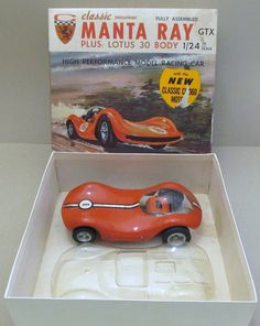 """Classic Industries """"Manta Ray"""" 1/24 scale slot car, with additional Lotus lexan body, still in the original box."""