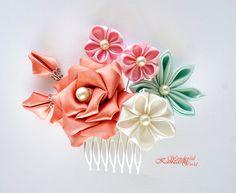 Orange Rose Tsumami Kanzashi Fabric Flower Wedding Bridal Comb