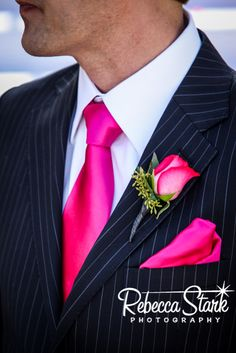 Navy And Hot Pink Wedding | Hot pink and navy details. I love Terry's navy pinstripe suit!