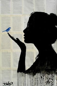 sillo woman and a blue bird