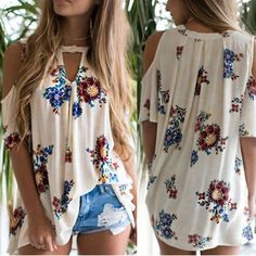 Women's Floral Print Loose Beach Casual T-Shirt Blouse Cold Shoulder Top Floral Tops, Floral Prints, Floral Cold Shoulder Top, Beach Casual, Chiffon Shirt, Casual T Shirts, Shirt Blouses, Long Sleeve Shirts, Plus Size
